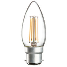230V 4W LED 35mm BC Clear Candle 3000K