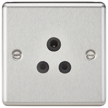 CL5ABC 5A Unswitched Socket - Rounded Edge Brushed Chrome Finish with Black Inse