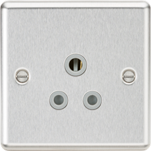 CL5ABCG 5A Unswitched Socket - Rounded Edge Brushed Chrome Finish with Grey Inse