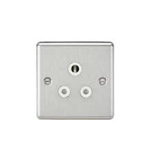 CL5ABCW 5A Unswitched Socket - Rounded Edge Brushed Chrome Finish with White Ins
