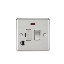13A Switched Fused Spur Unit with Neon & Flex Outlet - Rounded Edge Brushed Chro