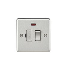 13A Switched Fused Spur Unit with Neon - Rounded Edge Brushed Chrome