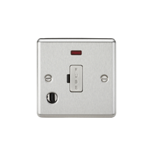 CL6FBC 13A Fused Spur Unit with Neon & Flex Outlet - Rounded Edge Brushed Chrome
