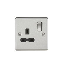 CL7BC 13A 1G DP Switched Socket with Black Insert - Rounded Edge Brushed Chrome