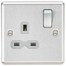 CL7BCG 13A 1G DP Switched Socket with Grey Insert - Rounded Edge Brushed Chrome