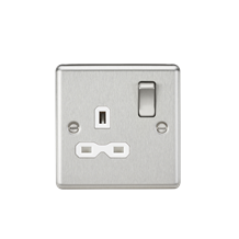 CL7BCW 13A 1G DP Switched Socket with White Insert - Rounded Edge Brushed Chrome