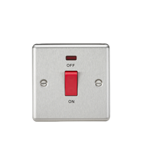 CL81NBC 45A DP Switch with Neon (single size) - Rounded Edge Brushed Chrome