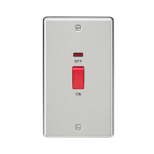 CL82NBC 45A DP Switch with Neon (double size) - Rounded Edge Brushed Chrome
