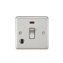 20A 1G DP Switch with Neon & Flex Outlet - Rounded Edge Brushed Chrome