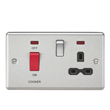 45A DP Cooker Switch & 13A Switched Socket with Neons & Black Insert - Rounded E