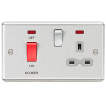 CL83BCG 45A DP Cooker Switch 13A Switched Socket with Neons & Grey Insert - Roun