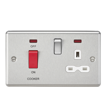 CL83BCW 45A DP Cooker Switch & 13A Switched Socket with Neons & White Insert - R