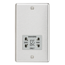 CL89BCG 115-230V Dual Voltage Shaver Socket with Grey Insert - Rounded Edge Brus