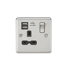 CL91BC 13A 1G Switched Socket Dual USB Charger Slots with Black Insert - Rounded