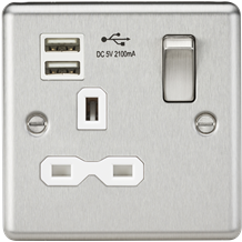 13A 1G Switched Socket Dual USB Charger Slots with White Insert - Rounded Edge B