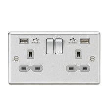 CL9224BCG 13A 2G Switched Socket Dual USB Charger (2.4A) with Grey Insert - Roun