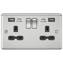 13A 2G Switched Socket Dual USB Charger Slots with Black Insert - Rounded Edge B