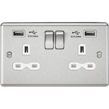 13A 2G Switched Socket Dual USB Charger Slots with White Insert - Rounded Edge B
