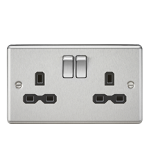 13A 2G DP Switched Socket with Black Insert - Rounded Edge Brushed Chrome