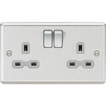CL9BCG 13A 2G DP Switched Socket with Grey Insert - Rounded Edge Brushed Chrome