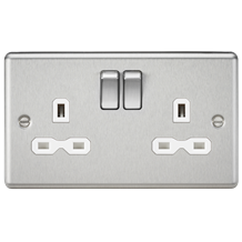 CL9BCW 13A 2G DP Switched Socket with White Insert - Rounded Edge Brushed Chrome
