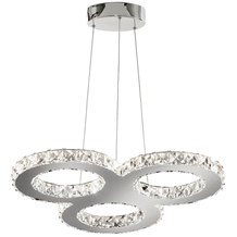 Clover Chrome 27 Led Crystal Pendant Light With Clear Glass Detail
