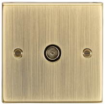 CS010AB TV Outlet (non-isolated) - Square Edge Antique Brass