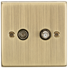 CS014AB TV & SAT TV Outlet (isolated) - Square Edge Antique Brass