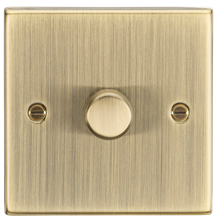 1G 2-way 10-200W (5-150W LED) trailing edge dimmer - Square Edge Antique Brass