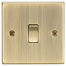 10A 1G 2-Way Plate Switch - Square Edge Antique Brass