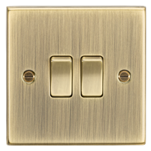 CS3AB 10AX 2G 2 Way Plate Switch - Square Edge Antique Brass