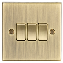 CS4AB 10AX 3G 2 Way Plate Switch - Square Edge Antique Brass