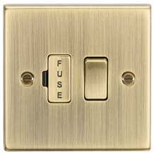 CS63AB 13A Switched Fused Spur Unit - Square Edge Antique Brass