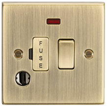 13A Switched Fused Spur Unit with Neon & Flex Outlet - Square Edge Antique Brass