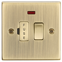 13A Switched Fused Spur Unit with Neon - Square Edge Antique Brass