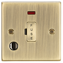 CS6FAB 13A Fused Spur Unit with Neon & Flex Outlet - Square Edge Antique Brass