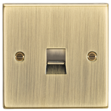 CS73AB Telephone Master Outlet - Square Edge Antique Brass