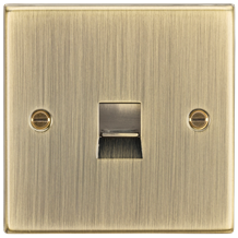 CS74AB Telephone Extension Outlet - Square Edge Antique Brass