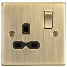 CS7AB 13A 1G DP Switched Socket with Black Insert - Square Edge Antique Brass