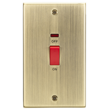 CS82NAB 45A DP Switch with Neon (double size) - Square Edge Antique Brass