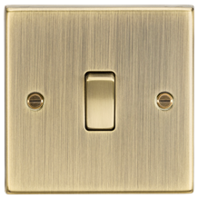 CS834AB 20A 1G DP Switch - Square Edge Antique Brass