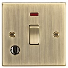 CS834FAB 20A 1G DP Switch with Neon & Flex Outlet - Square Edge Antique Brass