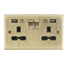 CS9224AB 13A 2G Switched Socket Dual USB Charger (2.4A) with Black Insert - Squa