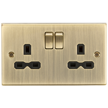 CS9AB 13A 2G Switched Socket with Black Insert - Square Edge Antique Brass
