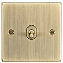 10A 1G 2 Way Toggle Switch - Square Edge Antique Brass