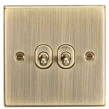 CSTOG2AB 10AX 2G 2 Way Toggle Switch - Square Edge Antique Brass