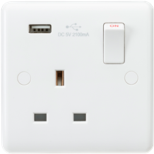 Curved Edge 13A 1G Switched Socket with USB Charger (5V DC 2.1A)