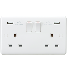 Curved Edge 13A 2G Switched Socket with Dual USB Charger (5V DC 3.1A shared)
