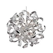 Curls Chrome 6 Light Ceiling Fitting Lined With Crystal Beads