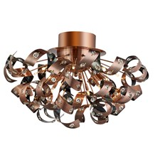 Curls Copper 12 Light Ceiling Fitting With Crystal Beads